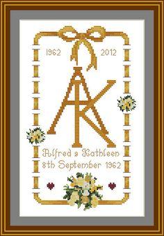 wedding cross stitch patterns | 50th Wedding Anniversary Cross stitch Patterns