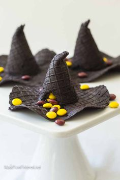 These Candy Filled McGonagall hats are completely edible. The kiddos love the candy surprise inside! Can't you just see this at your Halloween party?