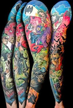 Tattoos are popular now more than ever. People can have a multitude of reasons why to get a tattoo. Dc Tattoo, Comic Tattoo, Tattoos Skull, Book Tattoo, Body Art Tattoos, New Tattoos, Game Tattoos, Forearm Tattoos, Tatoos