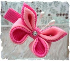Kanzashi flower and butterfly boutique hair by PoshPetalsbySteph