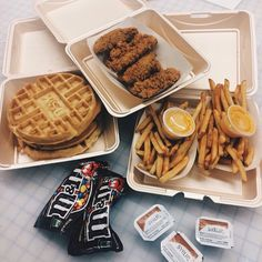 chicken and waffles for lunch because whatever. @ginacangemi