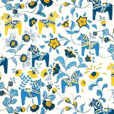 Dala horse fabric - blue-yellow - Arvidssons Textil
