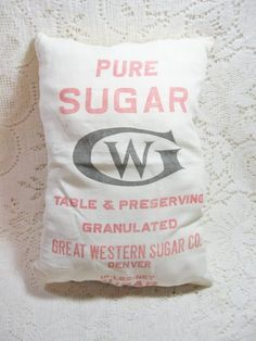 Early Great Western Sugar Co Advertising Bag Cloth Sack 10 LB Size ~ Vintage $9.00 +sh  CLICK HERE: http://deannamoyers.ecrater.com/p/18359705/early-great-western-sugar-co