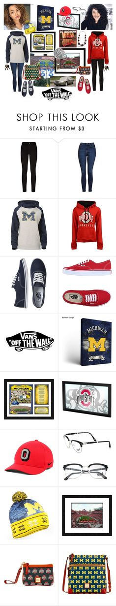 """""""Tamia & Erica's Vans Off-the-Wall Drama: Michigan-Ohio State Traveling Frienemies ❤️👩🏽🏈😈🏈👩🏻❤️"""" by chrisiggy ❤ liked on Polyvore featuring Paige Denim, Topshop, J. America, Vans, NIKE, Persol, Forever Collectibles and Dooney & Bourke"""