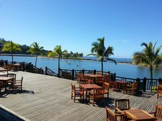 Naviti Resort, Coral Coast of Fiji (Viti Levu).  When I stayed in November 2000 it rained every day at 2pm and was fine again by 4pm. So tropical.