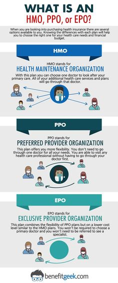 What is an HMO, PPO, or EPO? When you are looking into purchasing health insurance there are several options available to you. Knowing the differences with each plan will help you choose the right one for your health care needs and financial budget. health insurance