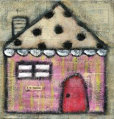 Pink Cottage print by Noodle and Lou, via etsy