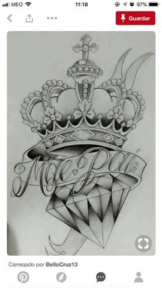 45 best mom dad tattoos images in 2019 Diamond Crown Tattoo, Diamond Tattoo Designs, Crown Tattoo Design, Diamond Tattoos, Tattoo Design Drawings, Tattoo Sketches, Chicano Tattoos, Dad Tattoos, Skull Tattoos