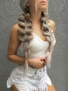 Side Bun with Double Loose Braid - 40 Two French Braid Hairstyles for Your Perfect Looks - The Trending Hairstyle French Braid Hairstyles, Pretty Hairstyles, Girl Hairstyles, School Hairstyles, Ponytail Hairstyles, Natural Hairstyles, New Hair, Your Hair, Coiffure Hair