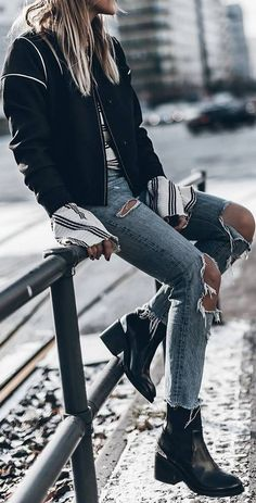 street style outfit: jacket + rips