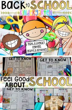 Back to School Math and Literacy Centers, Activities and Crafts will become a staple in your beginning of the year routine. Help students feel welcome and comfortable at school with scavenger hunts, seek-n-find and developmentally appropriate activities.