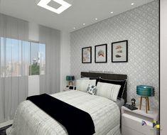24 dormitoare moderne mici si mari. Noua colectie - IdeiAmenajari.ro Bed, Furniture, Daisy, Home Decor, Closet, Geometric Wallpaper, Geometric Wall, Interior Design For Bedroom, Decor Room