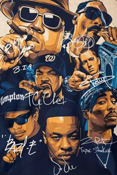 ©Great : Rap Legends Notorious BIG Snoop Dogg Ice Cube Eminem Tupac Signature Poster Source by marcusmeiokilu Eminem Wallpapers, Dope Wallpapers, Tupac Wallpaper, Rap Wallpaper, Arte Do Hip Hop, Hip Hop Art, Images Pop Art, Tupac Art, Tupac Pictures