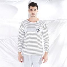 Pyjama Long Homme Coton Blanc Rayé Ours
