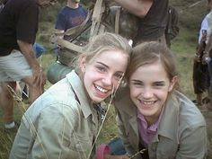 Emma Watson. , hangs out with her body double for the Harry Potter Films
