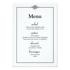 Simple Wedding Menu Simple Classy Black White Wedding Menu Card