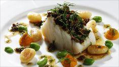 Ovnsbakt torsk med gresskarpuré Fish Dinner, Fish And Seafood, Baked Potato, Garlic, Bacon, Potatoes, Vegetables, Ethnic Recipes, Weeknight Dinners