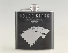 House Stark Winter is Coming Liquor Hip Flask, Tipsy Flask, Stainless Steel Flask 6 oz / 8 oz The flasks are available in following sizes.  - 6 oz  -