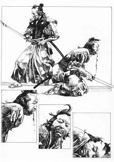 What is it about samurai that stirs our souls? It was a brutal way to… Samurai Art, Samurai Warrior, Comic Book Pages, Comic Books Art, Illustrations, Illustration Art, Bd Cool, Georges Wolinski, Serpieri