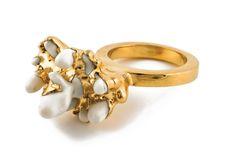 Ruta Reifen | Ring PG101f, 2009; porcelain, gold-plated brass. Photo: Ran Plutnizky;  - http://rutareifen.com/
