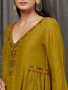 Mustard Yellow Embellished Cotton Silk Anarkali Kurta with Cambric Cotton Orange Pants - Set of 2 Neck Designs For Suits, Dress Neck Designs, Blouse Designs, Pakistani Dress Design, Pakistani Outfits, Indian Outfits, Cotton Silk, Cotton Pants, Kurti Embroidery Design