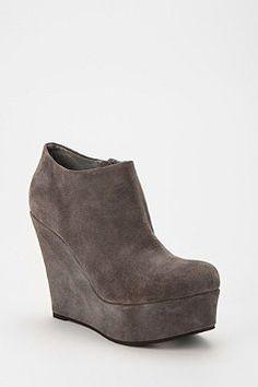Gray suede booties.