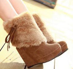 Hiver bottes de neige talon compensé plate - forme cheville bottes femmes mode fausse fourrure bottes d'hiver chaussures à talons hauts(China (Mainland))