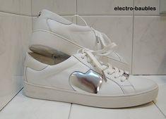 Brand new @ 66% off Retail -Michael Kors Keaton Heart Sneakers Size US 8.5M  / EUR 39 Optic White / Silver #MichaelKors #LowTop