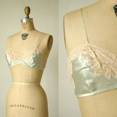 Vintage Silk Bra  1930s Pale Green Lingerie by DalenaVintage, $58.00
