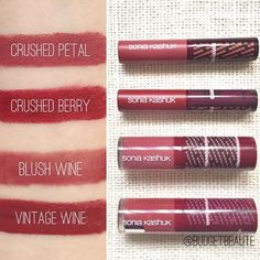 These swatches!!! 😍😍😍 I am loving all these maroon/marsala shades in this collection!!! Crushed Petal and Crushed Berry are matte lipsticks. Blush Wine is a gloss, but Vintage Wine is a semi-matte liquid lipstick. The lipsticks are non-scented and the liquid lips have a subtle sweet vanilla scent to them, similar to the Milani Amores. I was so surprised by Vintage Wine and it's my favorite of the four lip products in Sonia Kashuk's Grand Bazaar collection. It's a deeper brick color than…