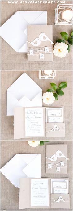 Lovebirds Wedding Invitations #romantic #rustic #eco #ecofriendly
