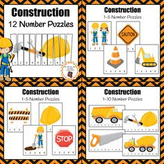 Add these 12 number puzzles to your math center during your construction or community helper unit.  1-5 puzzle graphics include: Caution cone Excavator Barrier Hard hat Construction workers Caution sign Stop sign Worker digging  1-10 puzzle graphics include: Cement truck Dump truck Hammer, wrench and hard hat Saw