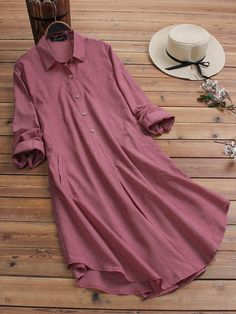 O-NEWE Casual Lapel Button Solid Color Plus Size Long Shirt can cover your body well, make you more sexy, Newchic offer cheap plus size fashion tops for women. Stylish Dresses For Girls, Dress Clothes For Women, Girls Fashion Clothes, Plus Size Vintage Dresses, Hijab Look, Vestidos Plus Size, Kurta Designs Women, Kurti Designs Party Wear, Indian Fashion Dresses