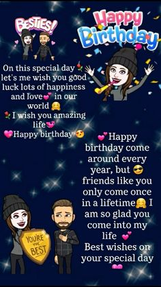Happy Birthday Wishes Bestfriend, Happy Birthday Quotes For Friends, Happy Birthday Wishes Cards, Birthday Wishes For Boyfriend, Happy Birthday Sister, Best Friendship Quotes, Bff Quotes, Attitude Quotes, Birthday Captions