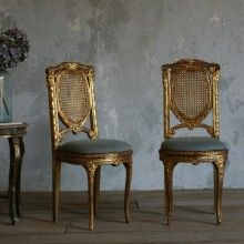 Vintage Chair Design Made Of Wood Colored Gold And Leather Cushions Gray Furniture & Furnishing Inspiring Beautiful And Elegant Vintage Chairs Antique Chairs, Vintage Chairs, Living Room Chairs, Dining Chair Set, Chair Bench, Long Chair, Chair Design Wooden, Wooden Desk, Swinging Chair