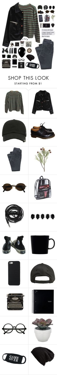 """""""i explored galaxies through a look in your eyes."""" by tzingfung ❤ liked on Polyvore featuring Prada, Dr. Martens, Jag Jeans, Moschino, Urbanears, D.L. & Co., Converse, iittala, Billabong and Alexander McQueen"""