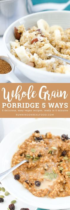 Try a new whole grain in healthy whole grain breakfast porridge! Five flavours to choose from: triple coconut, banana nut and seed, caramel tahini, apple cinnamon and pumpkin pie. Vegan and can be gluten-free.