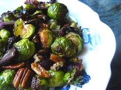 Roasted Brussels Sprouts w/ Grapes & Pecans