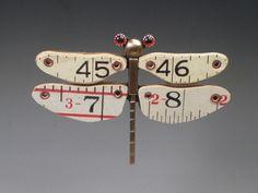SUSAN SKINNER / FIBULA STUDIO / Brooch / Ruler Dragonfly- Repurposed Vintage Carpenter's Rule, Brass, Glass .