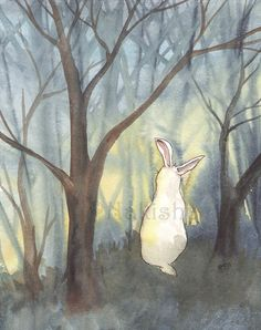 Original Watercolor Rabbit Painting  Through the by bluedogrose, $105.00