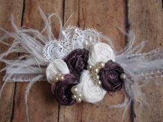 Shabby Chic Headband, Plum and White Silk Rosettes Headband, Baby Headband, Flower Girl Hair Accessory, Newborn Headband, Photo Prop