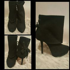 Black ribbon booties Never worn, clearing out closet. Price negotiable Bakers Shoes Ankle Boots & Booties