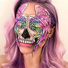 Unicorn / Pegasus Wings Skull 🦄💖🌈💀I'm jumping on the Instagram Unicorn band wagon and you guessed it- incorporated a skull in there. I just love anything holographic or rainbow. (Pegasus was white, not rainbow and I chose to leave out the horn and some unicorns do have wings you know😍🦄) What would you name it? Products Used: @wolfefaceartfx Face Painting FX palette, @maccosmetics @maccosmeticsuk Mechanical eyebrow pencil in 'Stud' to do the outline and pressed eyeshadows (depotted…
