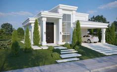 CASA SINOP - Arquitetura :: Ilana Santiago Narrow House Designs, Modern Exterior House Designs, Dream House Exterior, Modern House Design, Two Story House Design, Village House Design, Small House Design, House Plans Mansion, Dream House Plans