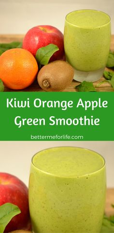 This sweet and rich smoothie is a powerhouse of nutrients. If you're new to green smoothies or a pro you have to try this kiwi orange apple green smoothie. Find the recipe on BetterMeforLife.com