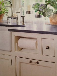 See the under-counter paper towel holder? Our cabinet maker built ...