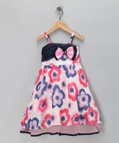 This Pink & Blue Flower Bow Dress - Toddler & Girls by Bonny Billy is perfect! #zulilyfinds