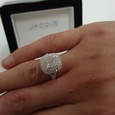 ❤ AMAZING ❤ We made this 1.20ct cushion cut look HUGE in this double halo gorgeously made ring.  Handcrafted to perfection by #jacquethejeweller #jacquefinejewellery
