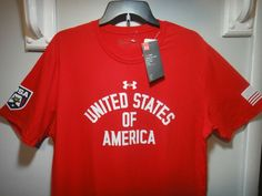 Under Armour Mens Heatgear U.S.A SS Shirt Color Red White Size 2XL #Underarmour #GraphicTee Under Armour Backpack, Football Gloves, Golf Outfit, Color Red, Colorful Shirts, Red And White, Ss, Graphic Tees, Mens Tops