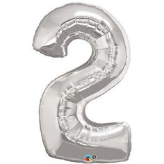 Silver 2 (Two) Number 86cm Foil Balloon with Helium